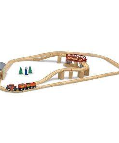 Set Trenulet din Lemn cu Pod Pivotant