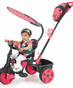 Tricicleta 4 in 1 Little Tikes Deluxe, roz neon