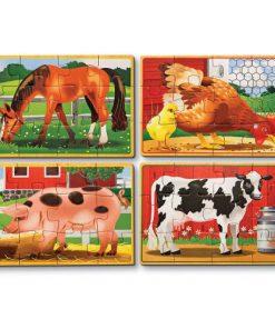 Set 4 Puzzle Lemn in Cutie - Animale Domestice