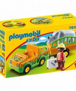 Playmobil 1.2.3 - Masina Zoo Cu Rinocer
