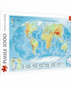 Puzzle Trefl Harta fizica a Lumii, 1000 piese
