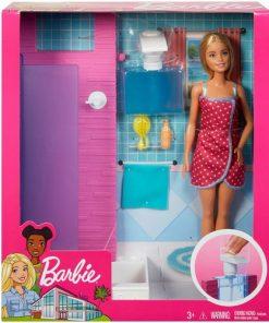 Set de Joaca Barbie cu Mobila si Accesorii de Baie