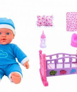 Papusa baietel 33 cm cu pijama bleu interactiva Globo Bimbo, cu patut balansoar, asternuturi, biberon si olita