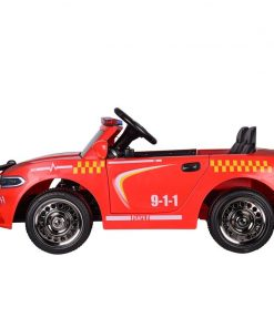 Masinuta electrica Police Patrol Red cu scaun de piele