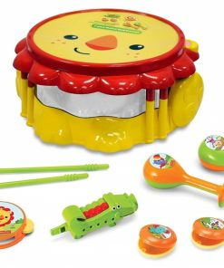 Set 7 instrumente muzicale pentru copii, Toba, Tamburina, Castaniete, Maracas, Inregistrator, Model Leu Fisher Price