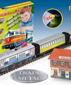 Jucarie Trenulet electric calatori cu far macheta si statie de tren