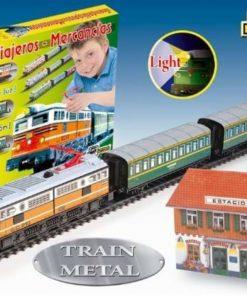 Jucarie Trenulet electric calatori cu far, macheta, statie de tren Pequetren