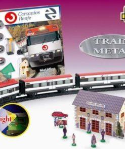 Jucarie Trenulet electric calatori cu figurine, statie tren, semafor Cercanias RENFE