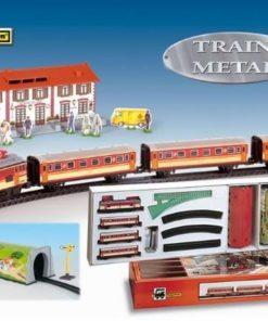 Trenulet electric calatori, cu statie si tunel