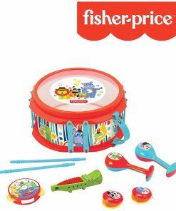Set 7 instrumente muzicale pentru copii, toba, tamburina, fluier, maracas, castaniete, recorder- Fisher Price