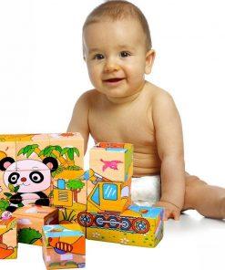 Cuburi din lemn pentru bebelusi