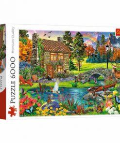 Puzzle Trefl Casuta din munti, 6000 piese