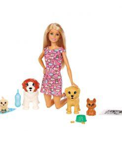 Set papusa Barbie Family cu catelusi