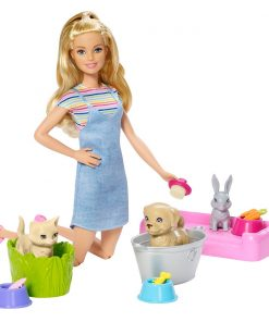Set papusa Barbie Family cu animalute domestice