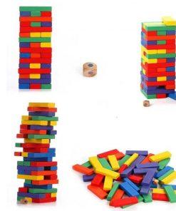 Joc din lemn model Jenga Colour