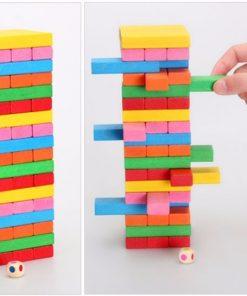 Joc din lemn Multicolor Jenga cu cifre si imagini