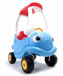 Masinuta din plastic cu maner pentru control parental, albastru/rosu