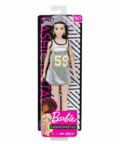 Papusa Barbie Fashionista Bruneta Cu Rochita Sclipitoare