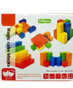 Set 100 cuburi colorate din lemn
