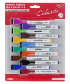 Set 12 markere pentru tabla magnetica - capac cu burete