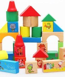 Set 33 cuburi constructie din lemn Onshine