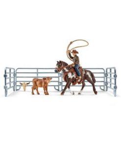 Set figurine schleich vacar cu lasou prinzand un vitel sl41418