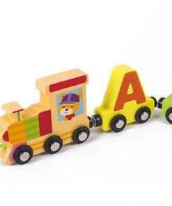 Trenulet din lemn Magnetic Literele alfabetului
