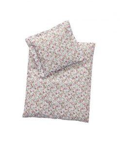 Set lenjerie de pat pentru papusi, perna si pilota, imprimeu trandafiri, +3 ani, byAstrup