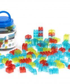 Joc de constructii cu 100 piese translucide