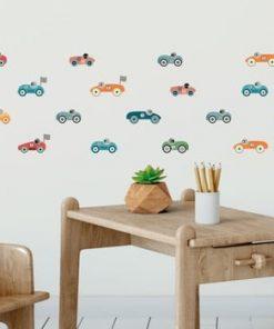 Set 30 autocolante pentru perete Ambiance Racing Cars