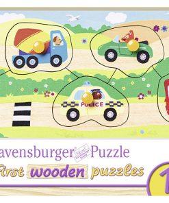 Puzzle din lemn cu vehicule, 5 piese