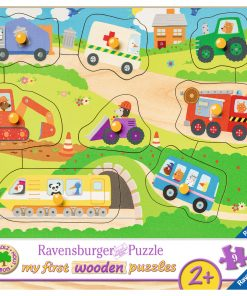 Puzzle din lemn cu vehicule, 8 piese