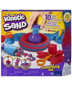 Set Sandtastic Kinetic Sand cu 10 accesorii si nisip