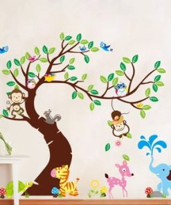 Set autocolante Ambiance Tree, Monkeys and Elephant