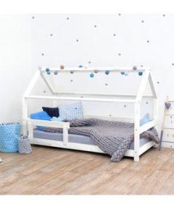 Pat pentru copii, din lemn de molid cu bariere de protecție laterale Benlemi Tery, 90 x 200 cm, alb