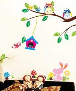 Set autocolante Ambiance Owls And Bird Cage On Tree