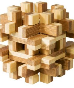 Joc logic iq din lemn bambus magic blocks puzzle 3d