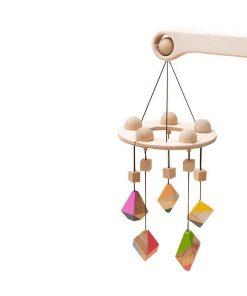 Carusel patut bebelusi Mobile, cu 5 jucarii colorate corpuri geometrice, lemn, Mobbli