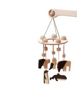 Carusel patut bebelusi Mobile, cu 5 jucarii natur-negru animale, lemn, Mobbli