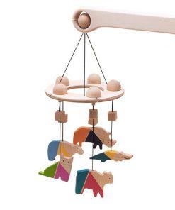 Carusel patut bebelusi Mobile, cu 5 jucarii colorate animale 2, lemn, Mobbli