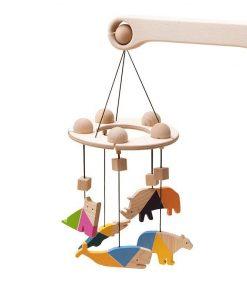 Carusel patut bebelusi Mobile, cu 5 jucarii colorate animale, lemn, Mobbli