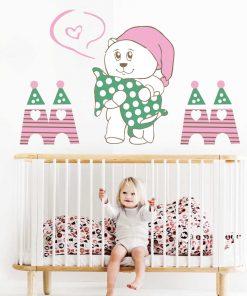 Stickere perete copii Ursuletul somnoros - 88 x 60 cm