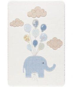 Covor pentru copii Confetti Sweet Elephant, 133 x 190 cm, alb