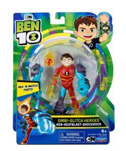 Figurina Ben 10 omni-adaptat Eroii Glitch: Ben Torta vie Shock Rock