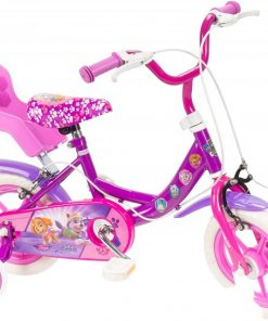 Bicicleta pentru copii Saica 2200S Paw Patrol Girl cu roti ajutatoare cosulet papusa si roata EVA 12 inch