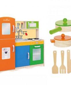 Bucatarie Globo pentru copii din lemn cu accesorii 80 X 30.5 X 85 cm
