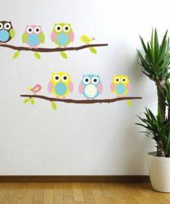 Set autocolante Ambiance Owls and Birds on Tree
