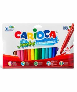 Carioca Jumbo - super lavabila, varf rotund Set 18 culori diferite.