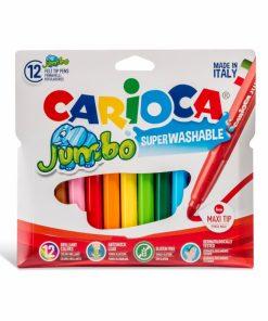 Carioca Jumbo - super lavabila, varf rotund Set 12 culori diferite.