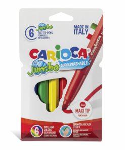 Carioca Jumbo - super lavabila, varf rotund Set 6 culori diferite.